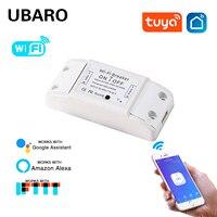 UBARO-interruptor remoto inalámbrico inteligente Tuya, funciona con Alexa, Google Home, Control de iluminación por voz, módulo de encendido/apagado, Ac100-240V