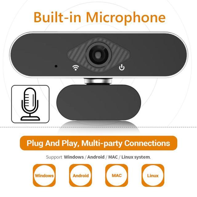 ALLOET Webcam Full HD 1080P, caméra Web avec Microphone intégré, rotatif, Autofocus, pour la diffusion en direct et le travail de vidéos