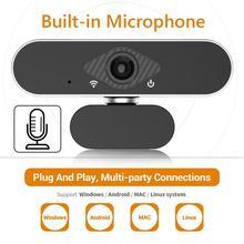 Alloet 1080p webcam completo hd câmera web embutido microfone rotativo autofoco widescreen câmera para transmissão ao vivo trabalho de vídeo