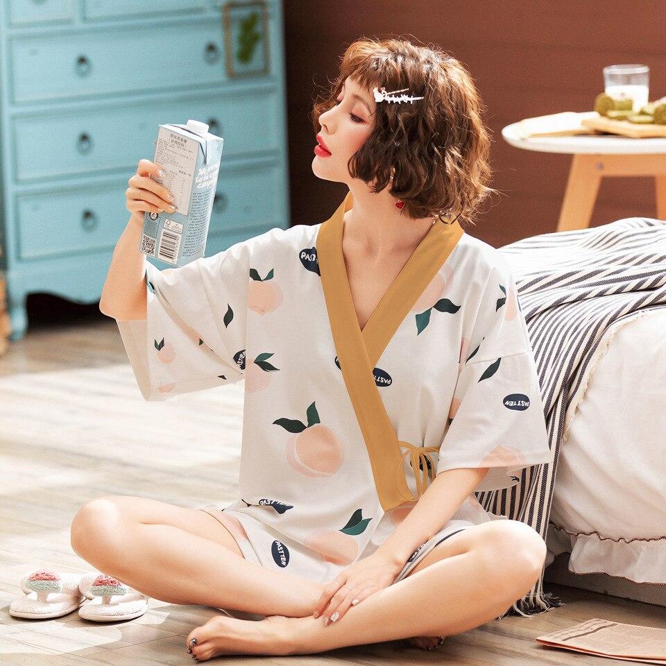 Summer New Style Pure Cotton Pajamas Women's Korean-style Comfortable Home Wear Kimono Short Sleeve Shorts Casual Two-Piece Set