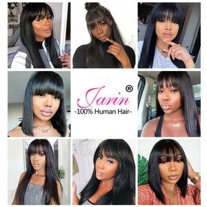 Image 4 - Pelucas de cabello humano liso con flequillo hechas a máquina pelucas de diadema gratis Color Natural para mujeres negras cabello Remy Janin
