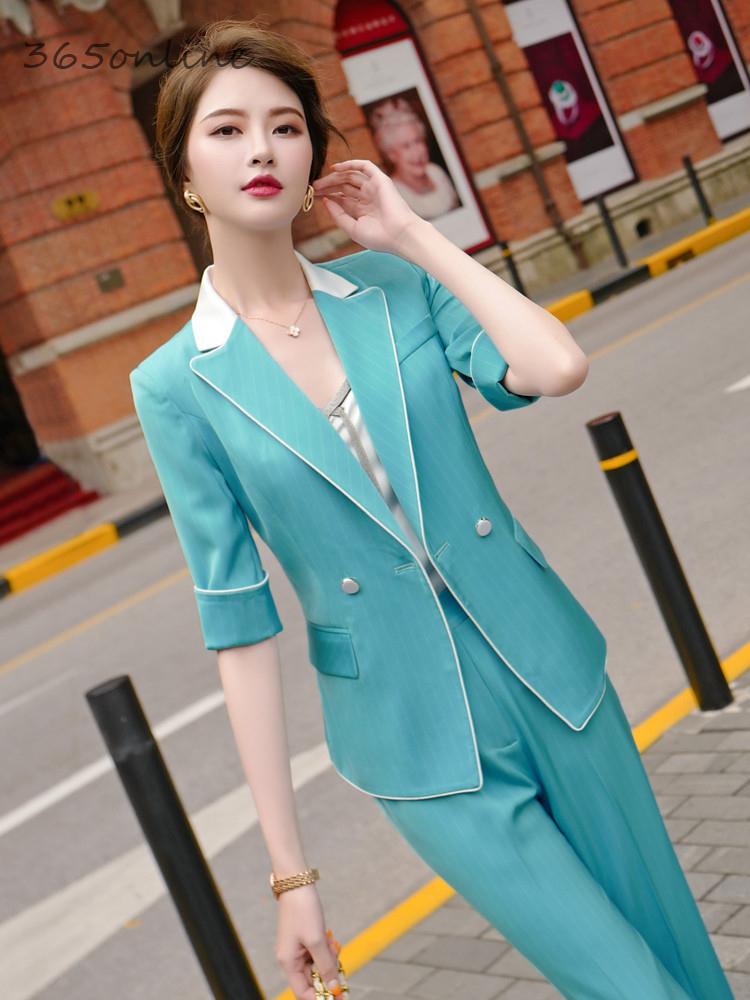 New Styles Spring Summer Formal Uniform Designs Pantsuits With 2 Piece Set Pants And Jackets Coat OL Professional Blazers Set
