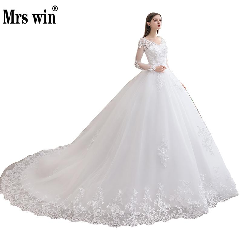 Mrs Win Wedding Dress 2020 New Luxury Full Sleeve Sexy V-neck Bride Dress With Train Ball Gown Princess Classic Wedding Gowns