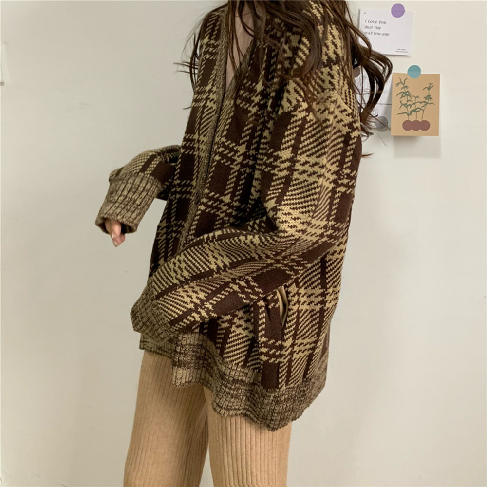 Plus Size Women Print Cardigans Casual Long Sleeve Knitted Sweater Coats Autumn Winter Fashion Cardigan Jacket Outwear