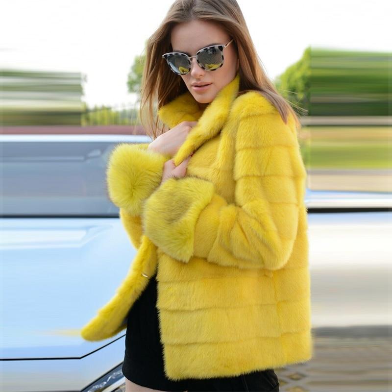 FURSARCAR Natural Real Mink Fur Coat Women Overwear Winter High Street Regular Genuine Yellow Mink Fur Female Coat With Collar