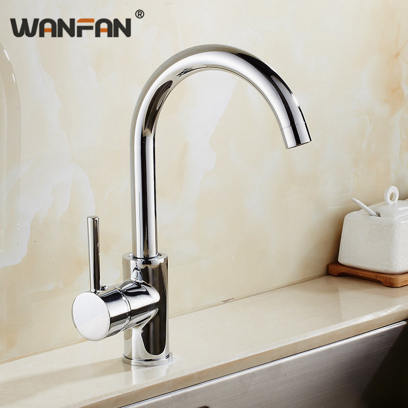 Kitchen Faucets Silver Color Rotating Copper Crane Kitchen Sink Faucet Hot And Cold Water Brass Taps Kitchen Mixer Tap N22-052