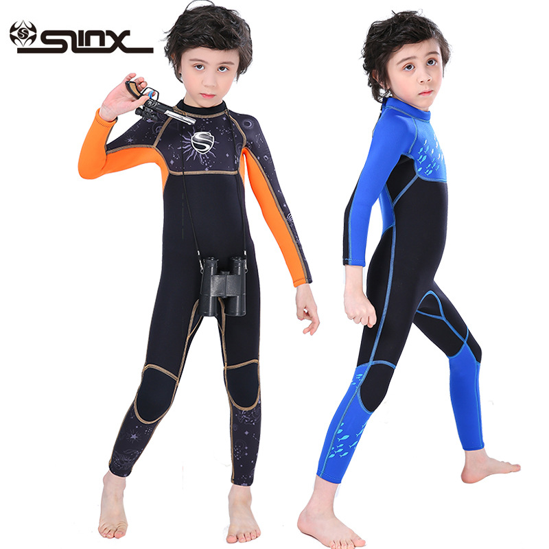 Slinx Boys' Long-sleeve 3mm Neoprene Diving Suit Wetsuit Full-body Swimsuit for Winter Warm Water Sports Kids Surfing Swimming