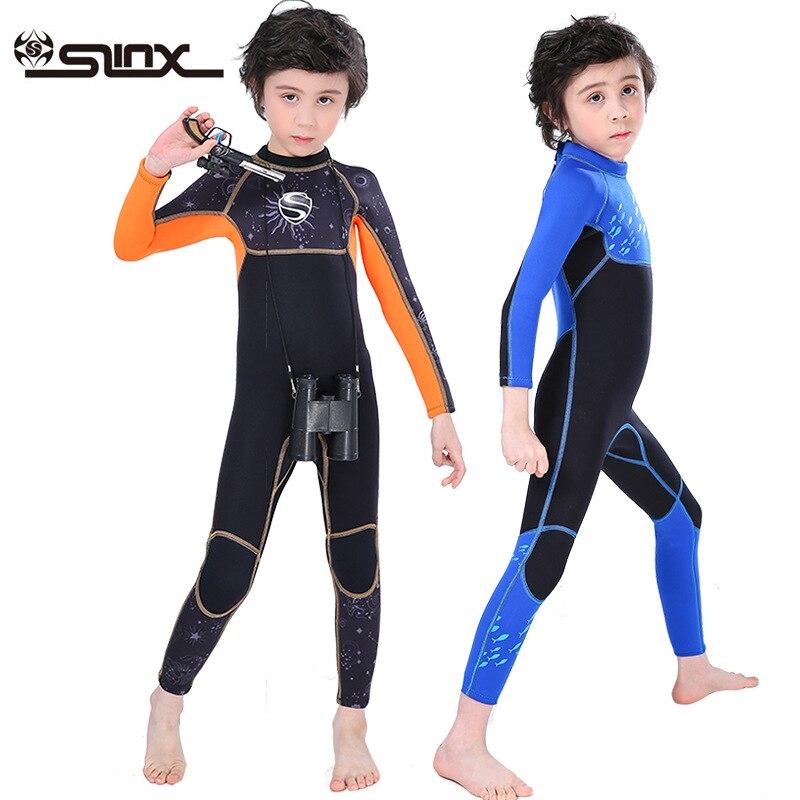 Slinx para Meninos Maiô de Corpo Inteiro para o Inverno Manga Longa Neoprene Mergulho Terno Wetsuit Esportes Aquáticos Quentes Crianças Surf Natação 2.5mm