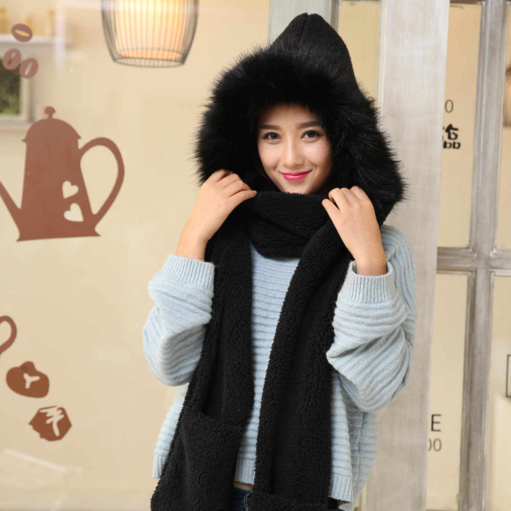 Musim Dingin Hangat Syal Topi Jaring Rambut Saku Topi Sarung Tangan Wanita Faux Bulu Halus Hood Topi Warna Solid Syal Musim Dingin Tetap Hangat sarung Tangan Topi