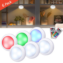Wireless Multicolor Dimmable RGB Cabinet Light Remote Control Touch Closet Led For Wall Wardrobe Stair Hallway Night lamp(China)