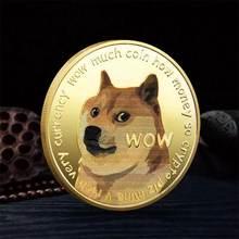 Bonito ouro chapeado dogecoin moedas comemorativas bonito cão padrão lembrança coleção presentes