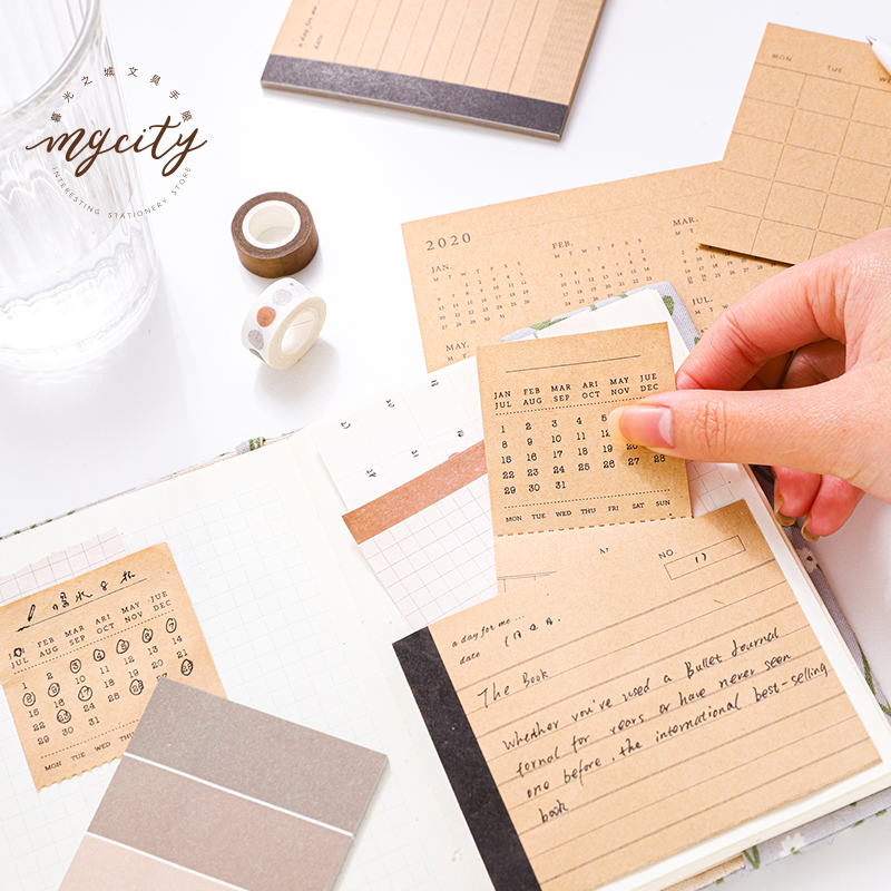 JIANWU 4 Styles Fresh Simple Life Is Enjoyment Sticky Set Stickers Bullet Journal Set Writable Diary Stickers