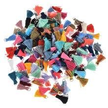 20 pçs/lote borla acessórios de joias de borla, multicolor algodão, colar, pulseiras diy, brincos, materiais, joias femininas