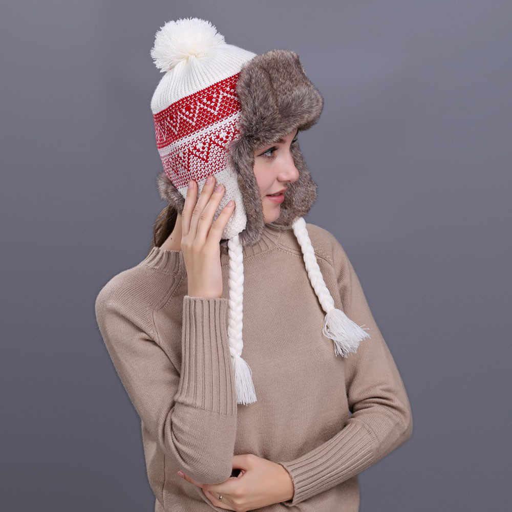 NEW FASHION POM POM KNITTED WINTER BEANIE WARM SKI HAT EAR FLAP