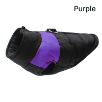 Purple-Winter Warm Dog Clothes Waterproof Pet Padded Vest Zipper Jacket Coat For Small Medium Large Dogs