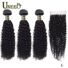 Uneed – tissage en lot indien Remy avec Lace Closure, cheveux frisés bouclés, 100% cheveux naturels, Extensions de cheveux