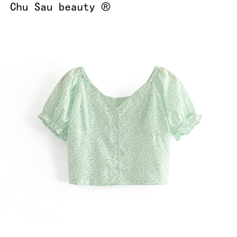 Chu Sau Beauty Sweet Style Floral Printed Crop Top Women Holiday Chic Puff Sleeve Single Breasted Short Blouses Vestidos De Mode