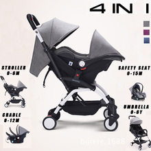 цена на 4 IN 1 Four Wheels Stroller Pushchair Baby Stroller Portable Baby Sleeping Basket Safety Car Seat Umbrella Baby Carriage Pam