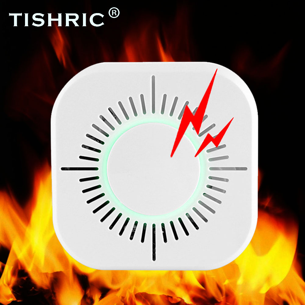 TISHRIC 433MHz Wireless Smoke Sensor Detector Protection Smoke Detector Fire Alarm System Security Work With Sonoff RF Bridge