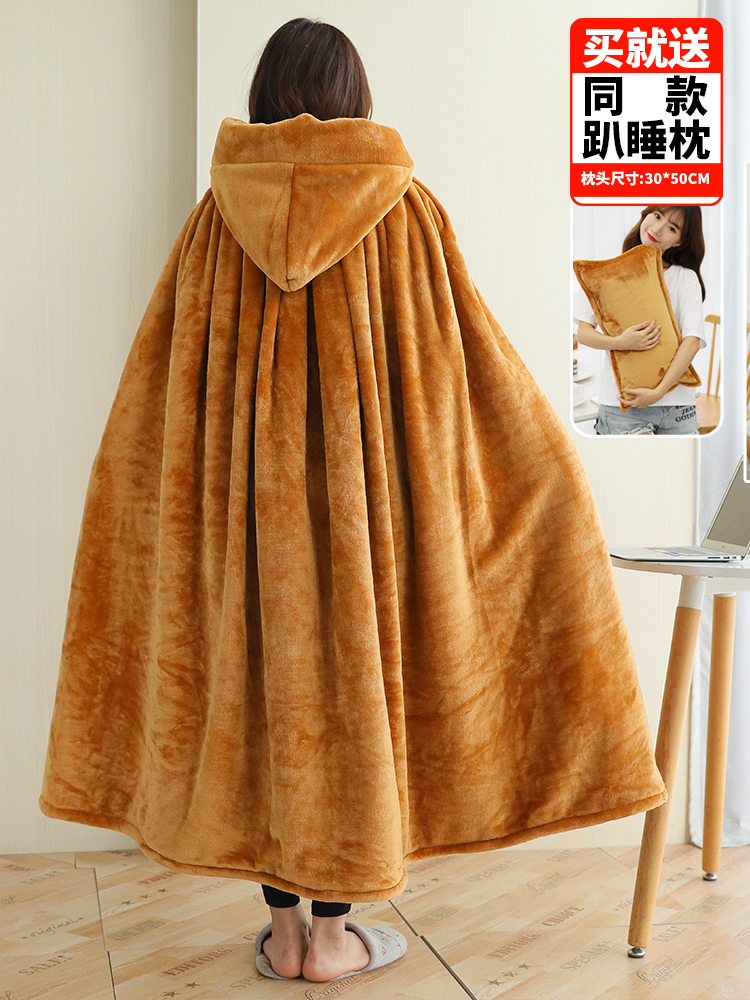 Одеяло с капюшоном, зимнее уплотненное Коралловое флисовое носимое одеяло, накидка, многофункциональная шаль, накидка, высокое качество, одеяло для ленивых - 6