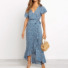 Summer Long Maxi Dress Women Casual Boho Floral Print Chiffon Beach Dress Sexy V-Neck Ruffles Bodycon Wrap High Slit Party Dress blue floral print v neck slit design long sleeves dress
