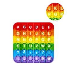 Tęczowe cyfry alfabetu angielskiego Fidget Pop It zabawki gra dla dorosłych Kid Push Bubble zabawka sensoryczna autyzm specjalne potrzeby stres