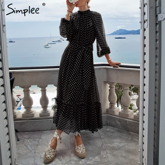 Simplee Autumn women party dress Elegant polka dot print female long party dress Holiday style ladies ruffle maxi dress vestidos