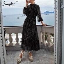 Simplee sonbahar kadın parti elbise zarif polka dot baskı kadın uzun parti elbise tatil tarzı bayanlar fırfır maxi elbise vestidos