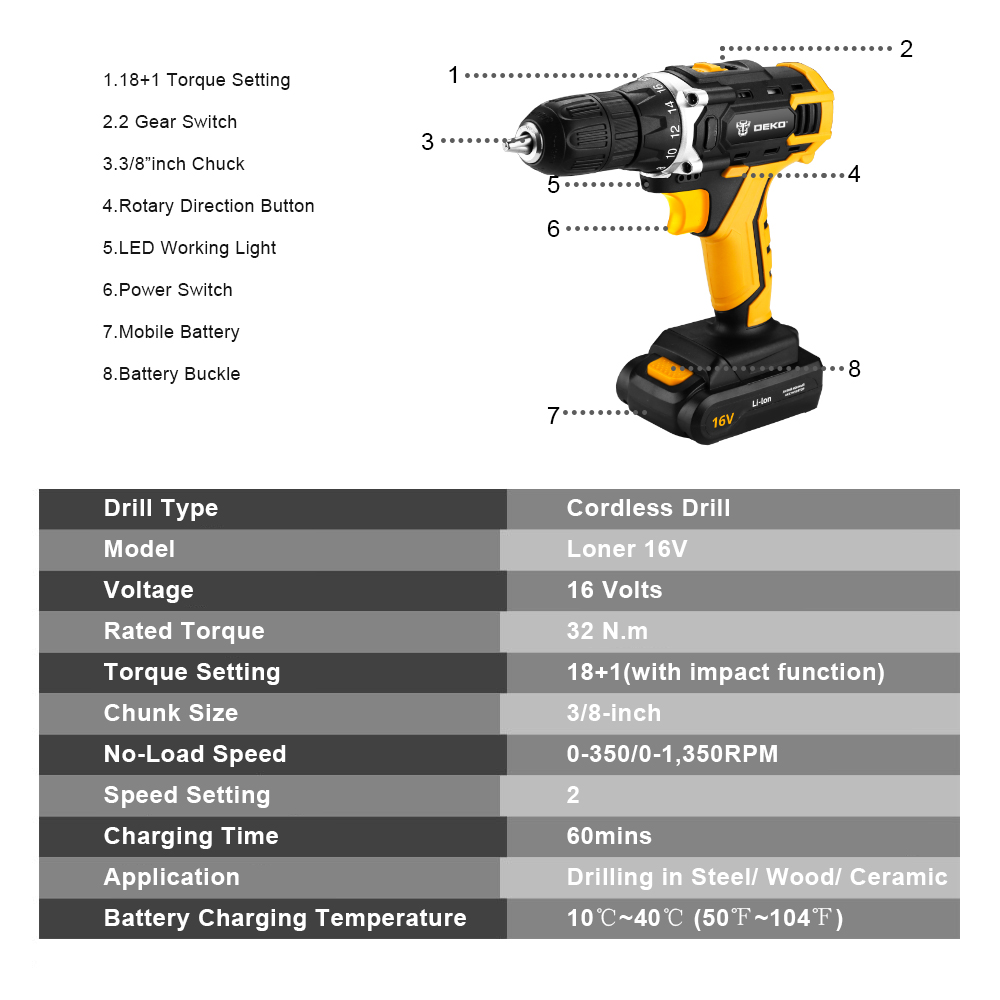 Image 3 - DEKO New Loner 16V DC Cordless Drill with Lithium Ion Battery Pack Home DIY Electric Screwdriver LED Mini Wireless Power Driver-in Electric Drills from Tools