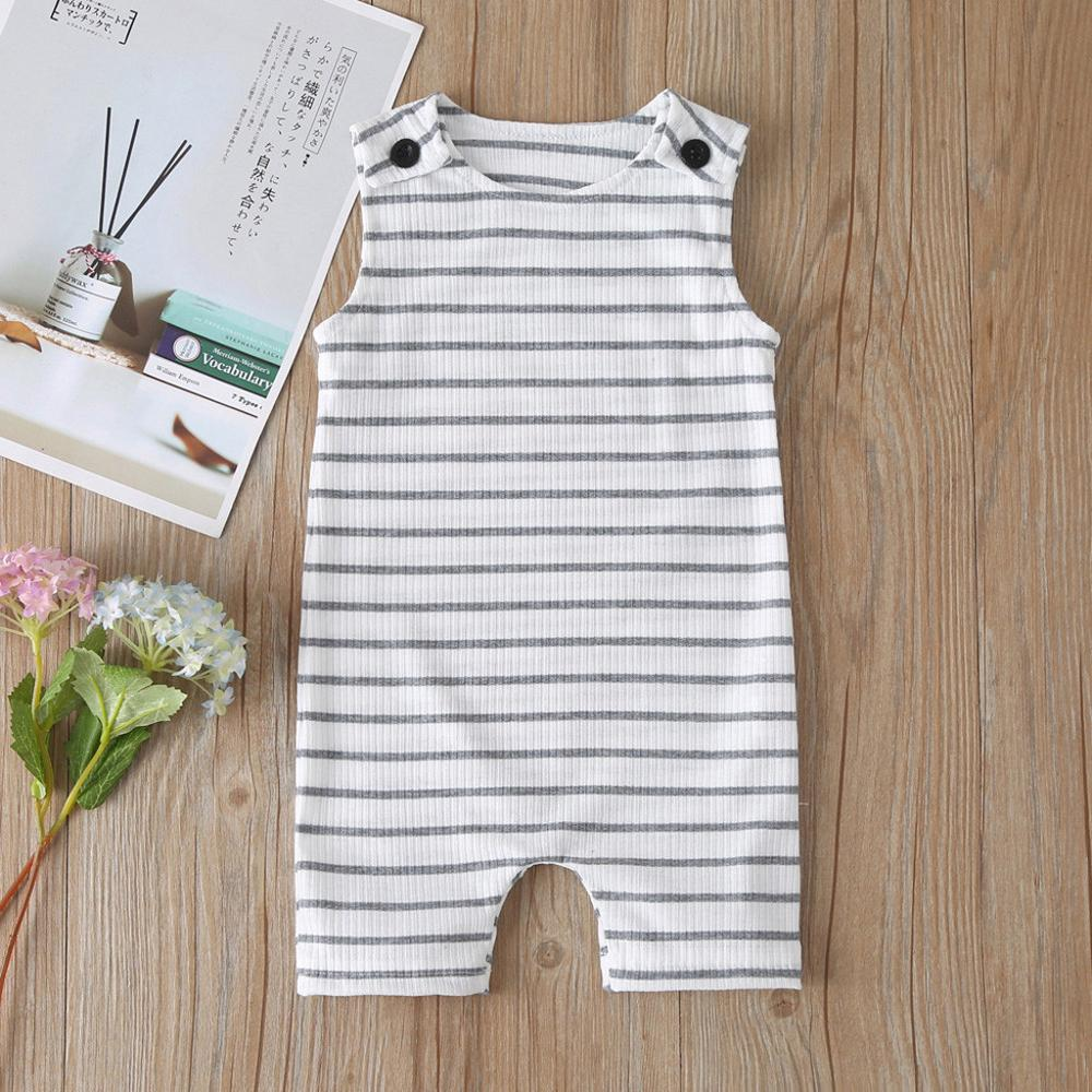 Newborn Boys Striped Sleeveless Rompers Jumpsuit Summer Fashion Pocket Jumpsuit Baby Boys Summer Outfit Jumpsuit RL2