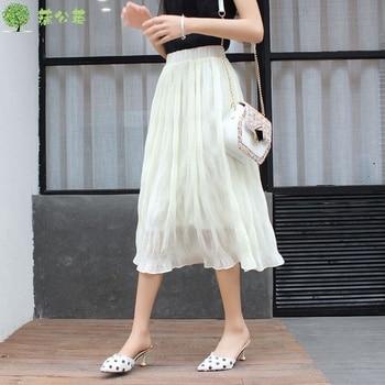 korean style Pleated Chiffon Skirt 2020 Summer kawaii Elastic Waist White Midi Skirts Women mujer faldas vintage white plaid pleated long skirts elastic high waist women 2020 korean cotton skirt harajuku streetwear midi skirt saias