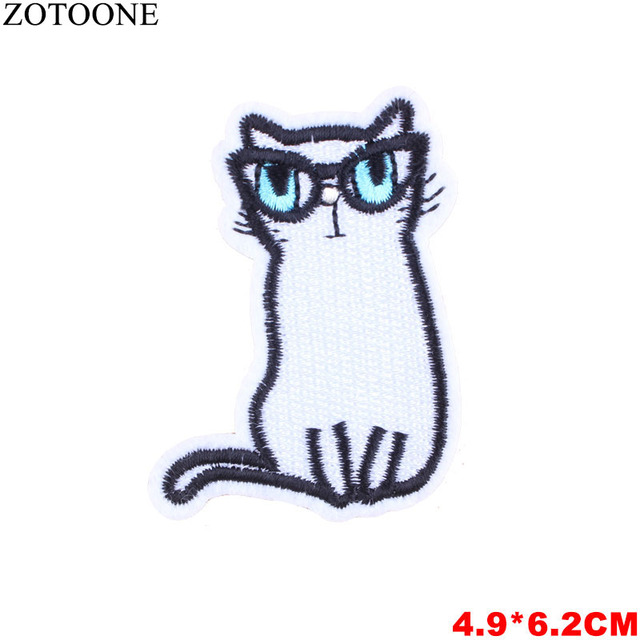 ZOTOONE Cartoon Cat Patch for Clothes Iron on Patches Skull Animal Badge Backpack DIY Embroidered Stickers Sewing on Applique D