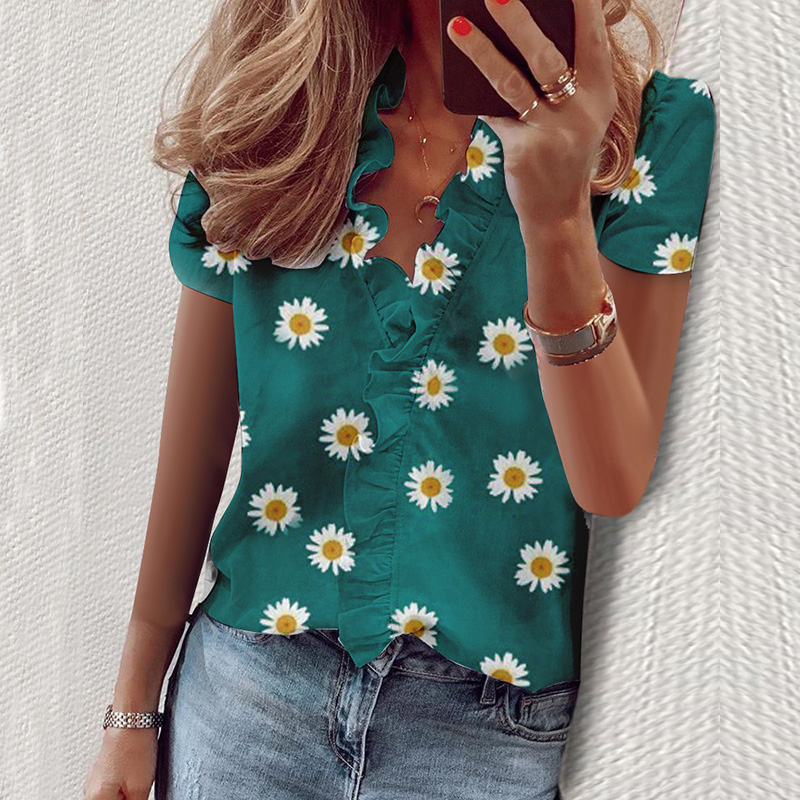 Blouse Women 2020 Shirt Solid Short Sleeve Womens Tops and Blouse Summer Ruffle Fashion Woman Blouses 2020 Feminine Top New