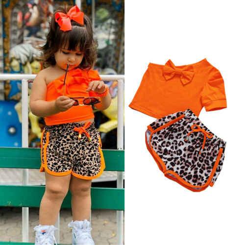 Toddler Kids Baby Girls Cropped Ruffle Sling Tops Leopard Shorts Outfits Set YO
