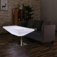 Hot Led Luminous Bar Table Simple Square Single Leg Cocktail Bar Table For Night Club Coffee Shop Creative Lighting Furniture