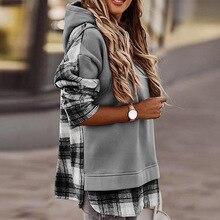 new Winter women Hooded Pullover female Leopard Print Patchwork Hoodie Sweatshirt Women Vintage loose Long Sleeve Streetwear Top