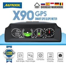AUTOOL X90 GPS HUD 자동차 속도 슬로프 미터 경사계 자동 12v 일반 헤드 업 디스플레이 틸트 피치 각도 각도기 위도