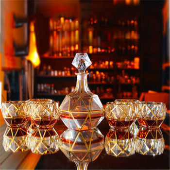 Luxury gold crystal glass whiskey glass  and cups set wine glass red wine glass brandy wine barwarer Household drinkware gift