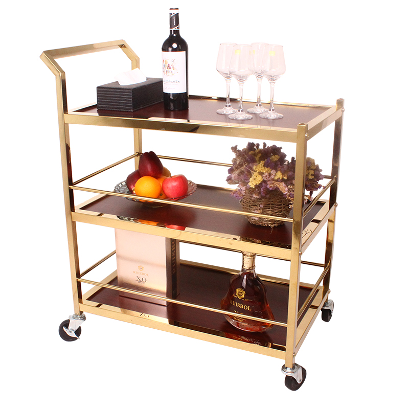 Diner Trolley Hotel Restaurant KTV Commercial Drinks Delivery Three-story Stainless Steel Service Car