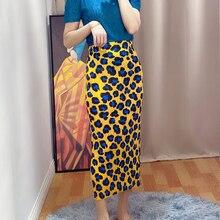 Printed Skirt A-Line Straight High-Wais Korean-Fashion Women's Summer Miyake