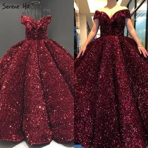 Image 4 - דובאי מתוקה סקסי ירוק יוקרה חתונה שמלות 2020 נצנצים כבוי כתף שמלות כלה Serene היל HM66991 תפור לפי מידה