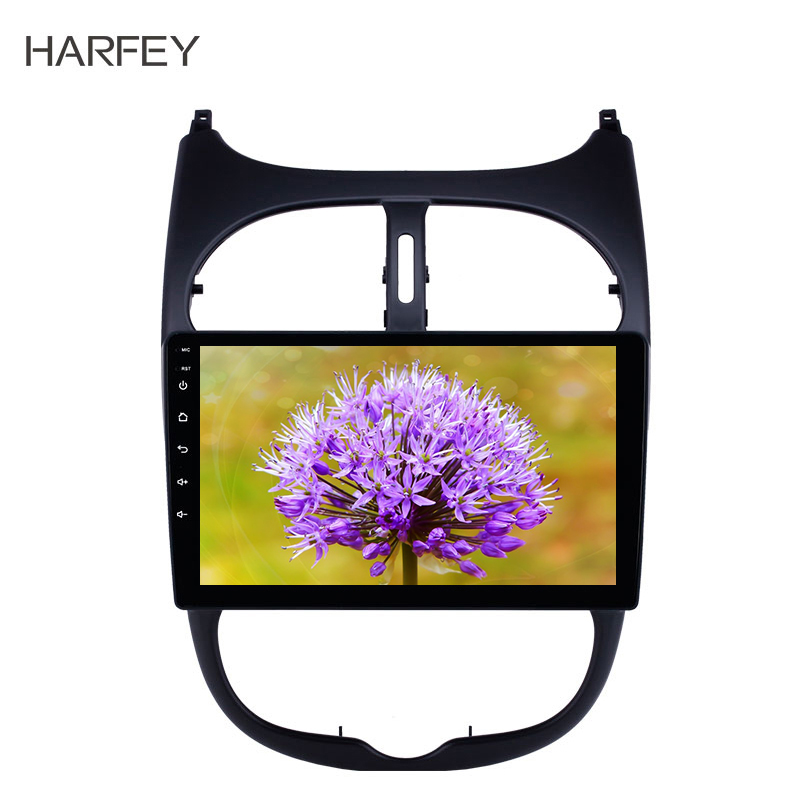 Harfey GPS 2Din HD Car Auto Radio Audio 9'' <font><b>Android</b></font> 8.1 Stereo for <font><b>Peugeot</b></font> <font><b>206</b></font> 2000-2016 with AUX WIFI support Carplay TPMS DAB+ image
