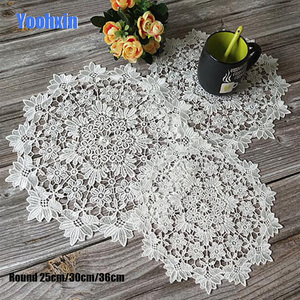 HOT white Lace Round Embroidery table place mat Christmas pad Cloth dish placemat cup mug dinner tea coaster glass doily kitchen(China)