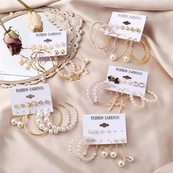 Hot Fashion Pearl Earrings Set For Women Bohemian Jewelry 2021 Geometric Round Circle Pearls Long Dangle Earrings Brincos