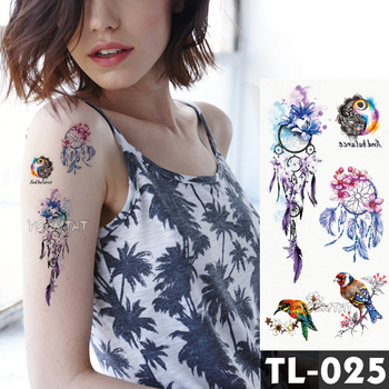 Dreamcatcher flower tattoos Bracelet Temporary Tattoo Stickers translated tattoos Girl Chest Arm Flash Fake Tattoo Women Waist
