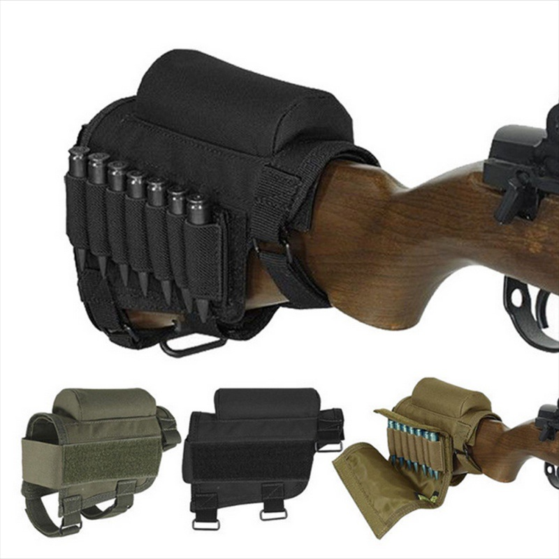 Portable Adjustable Tactical Butt Stock Rifle Cheek Rest Pouch Bullet Holder Bag Rest With Ammo Carrier Case