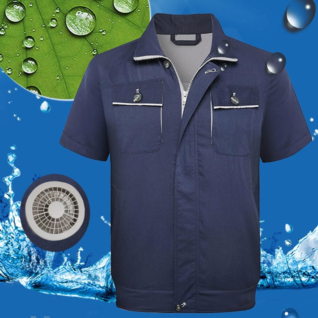 Été refroidissement en plein Air climatisation sac de glace coup de chaleur vestes unisexe décontracté en plein Air travail grande taille chaqueta hombre z0807