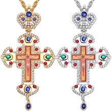 Haute qualité croix pectorale orthodoxe jésus crucifix pendentifs strass chaîne collier religieux bijoux pastor prière articles