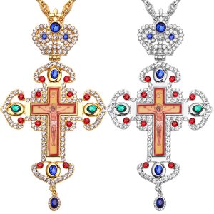 Image 1 - High quality pectoral cross orthodox Jesus crucifix pendants rhinestones chain religious necklace Jewelry pastor Prayer items