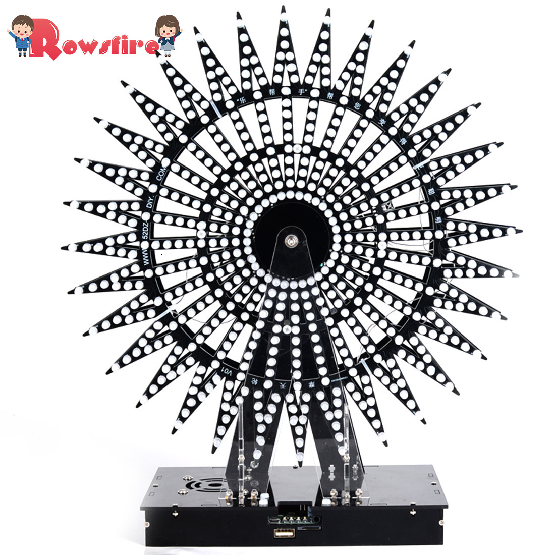 DIY Ferris Wheel Model LED Light Kit Remote Control Music Spectrum Electronic Kit 51 Single-Chip LED Kit